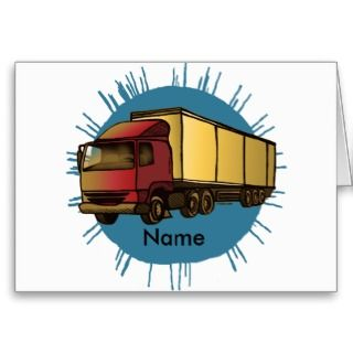 Red Big Rig Truck Greeting Card