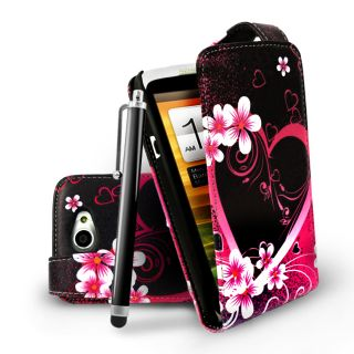 Love Heart Flip Leather Case Cover For HTC ONEX One X + Film & Stylus