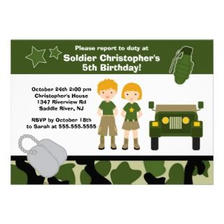 Army Camouflage Soldier Kids Birthday Party Personalized Announcement