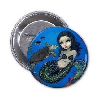 Sea Turtle Mermaid Button