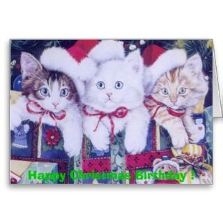 Birthday Christmas Cats Greeting Cards
