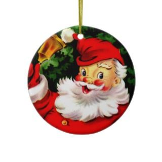 Vintage Jolly Christmas Santa Claus Ringing Bell Christmas Ornament