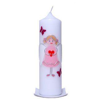 Taufkerze Engel mit Herz (rosa)25x7cm mit Karton, wird erst nach