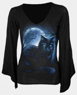 Gothic Emo Shirt Bluse Top Longsleeve Tunika Katze Fledermaus Vollmond