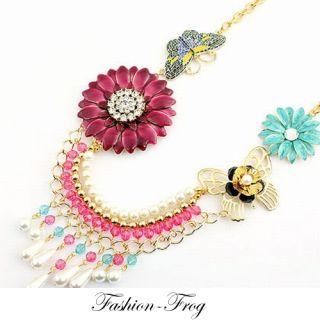 Halskette Collier Blumen Blüten Schmetterling Perlen Strass pink gold