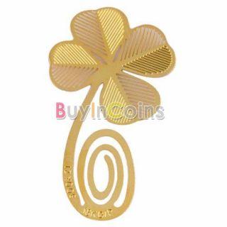 Reading Four leaf Clover 18K Gold Metal Clip Bookmark Label Book Mark