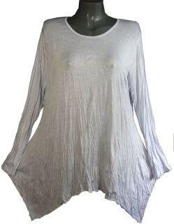 Lagenlook Basic Shirt Zipfel Tunika Crash Weiß Gr 2XL  3XL NEU *399