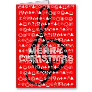 Merry Christmas Card G Clef Music Note Red