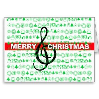 Merry Christmas Card Music Note Green Red Stripe card