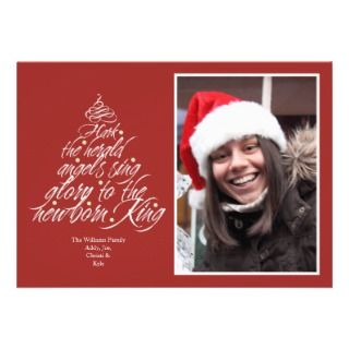 Hark the Christmas carol lyric tree photo red Invite