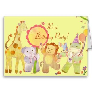 Baby Animals Birthday Party Invitation for Kids Greeting Cards