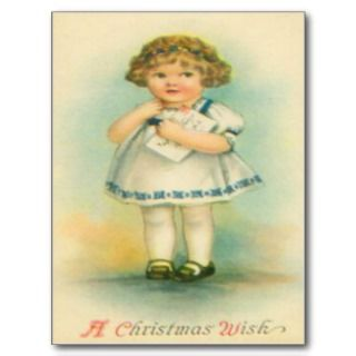 Girl With Letter To Santa Post Card