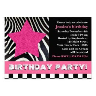 Rock Star Zebra Birthday Party   Pink Announcements