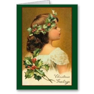 Young Girl with Holly   Vintage Christmas Card