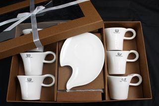 Style Weiss Kaffee Service 6 Personen 12 teilig Porzellan Set Modern