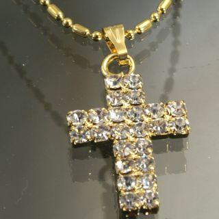 H412 NEU Edel Damen Gold Kette Kreuz Anhaenger Strass Halskette