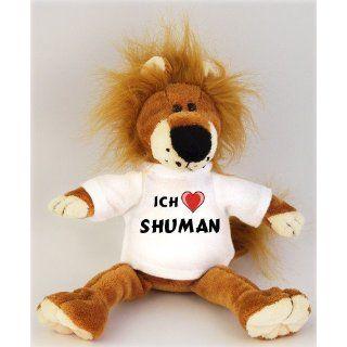 Plüschtiere Löwe mit Ich liebe Shuman T Shirt, Größe 27 cm