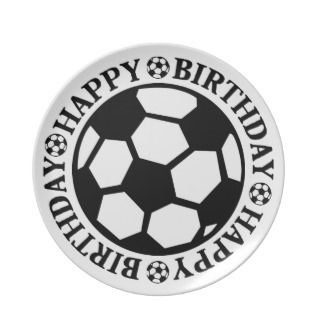 Happy Birthday Black Soccer Ball Party Plates