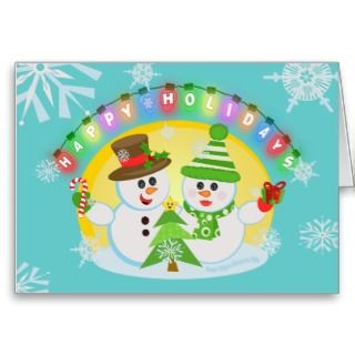 Snowman Couple Winter Scene Christmas Card