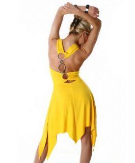 Latina Salsa Tanzkleid Zipfel Sommerkleid Abendkleid Gelb
