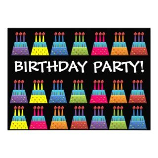 BonBon Party Happy Birthday colorful candels Custom Invites