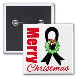 Melanoma Awareness Merry Christmas Ribbon Pinback Buttons