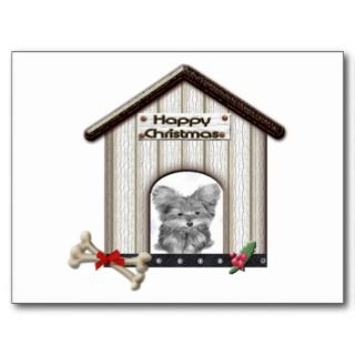 Cut Christmas Yorkie Dog Gift Postcard