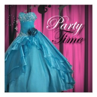 Teal Prom Gown Sweet Birthday Party Invitation