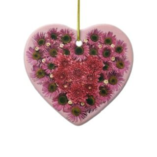 Pink Flowers Heart Wreath Ornaments