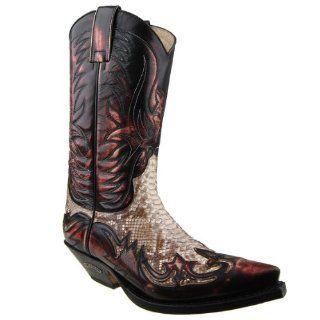 Sendra Python Cowboystiefel 3241 Denver Rojo Dirty Rot