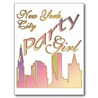 New York City Party Girl Pink Purple Yellow Post Card