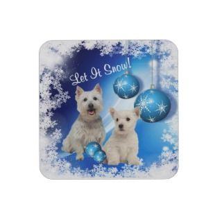 Cute Christmas Westie Puppy Let It Snow Coasters