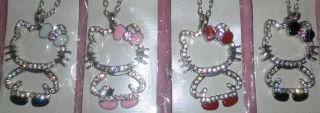 Hello Kitty Swarovski Diamond Crystal Bling Strass XL Anhänger+Kette