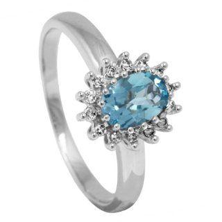 Bella Donna Damen Ring 375 Weißgold 14 Diamanten 1 Blau Topas beh. 60