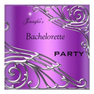 Bachelorette Party Black Purple Silver Personalized Invitation