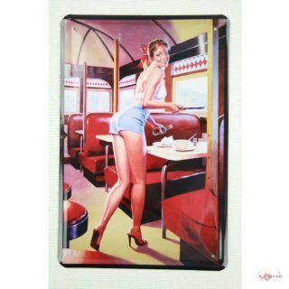 Blechschild Pinup Girl im American Diner 20 x 30 cm tin sign enseignes