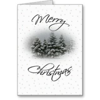 Merry Christmas Snow covered trees with quote. Card