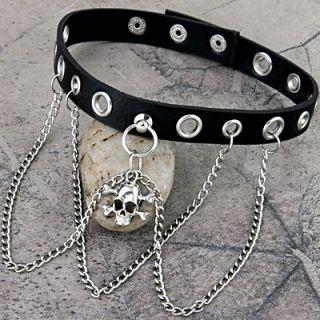 Leder Totenkopf Kette Halsband Gothic Lolita Punk Choker Schwarz