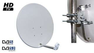 Sat Anlage 80 Spiegel Schüssel + 4 Receiver+ LNB+ Kabel