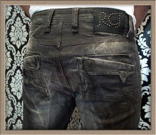 Rocco Cavalli. Italienische Designer Jeans in schwarz grau Stonewashed