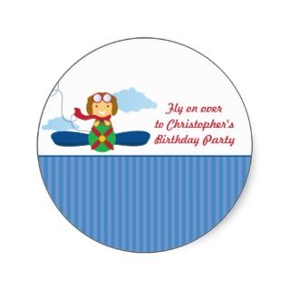 Cute airplane pilot boys birthday party invitation