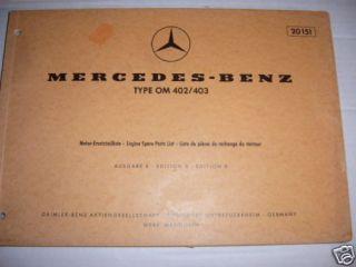 Ersatzteilkatalog Mercedes Diesel Motor OM 402 403 V 10