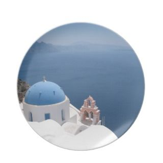 Santorini Greece Party Plate
