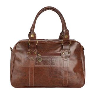New Man Made Leather Women Handbag Messenger Bag Brown Retro Style