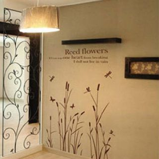 Fashion New DIY Wall Paper Art Deco Decal Sticker Reed Flowers Coffee