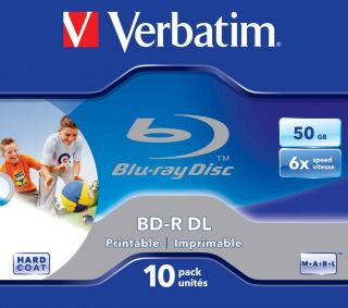 Verbatim 43736 BD R Dual Layer Blu Ray Rohlinge (50 GB, 6x bedruckbare