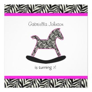 Zebra Rocking Horse Party Invitations