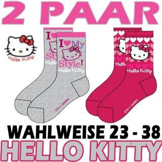 HELLO KITTY  2 PAAR GRAU & PINK  STRÜMPFE  SOCKEN