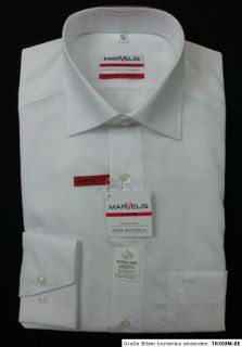 MARVELiS Hemd SLIM FIT extra lange Ärmel weiß bügelfrei