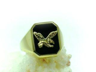 Herren ADLER Ring 585 Gold mit ONYX Stein NEU UVP 469€